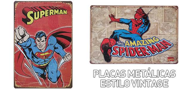 Placas metálicas de Superhéroes estilo vintage