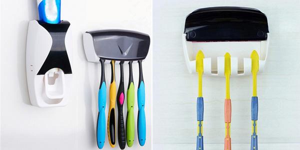 Portacepillos de dientes y dispensador de pasta para pared