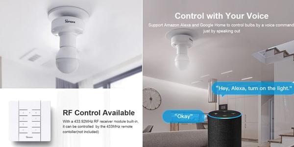 Adaptador SONOFF inteligente para bombillas E27 chollazo en AliExpress