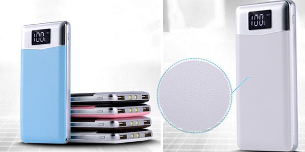 Batería portátil de 30.000 mAh con 2 puertos USB en varios colores