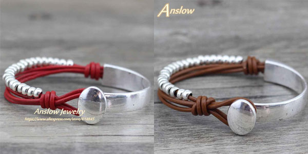 Brazalete de cuero y metal diseño unisex chollo en AliExpress