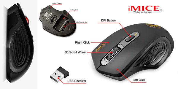 Ratón inalámbrico iMice de 2000 DPI ajustable con receptor USB barato