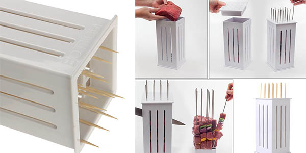 recipiente para cortar pinchitos de carne de facil uso