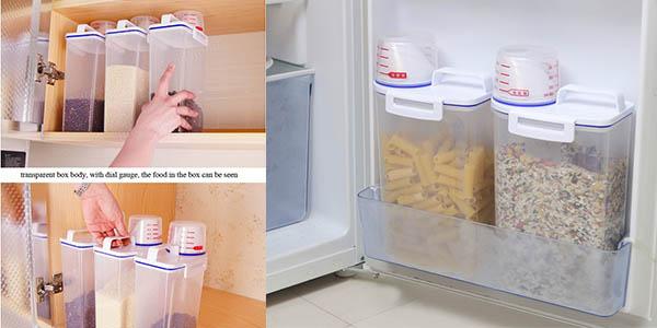 recipientes de almacenaje para arroz y legumbres hermeticos de 2 kg de capacidad