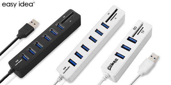 Combo HUB EasyIdea 3 puertos USB 2.0 y lector de tarjetas barato en AliExpress