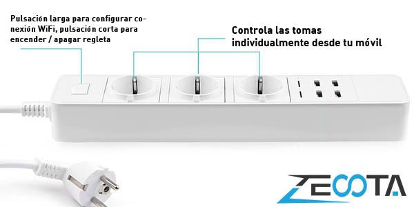Regleta inteligente Zecota con 3 tomas y 4 USB compatible con Alexa y Google Home en AliExpress