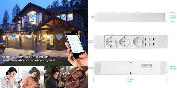Regleta inteligente Zecota con 3 tomas y 4 USB compatible con Alexa y Google Home barata