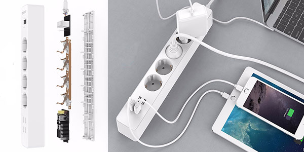 Regleta ORICO de 4 tomas + 4 USB con interruptor barata