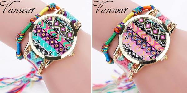 Reloj analógico de estilo tribal con correa trenzada para mujer chollazo en AliExpress