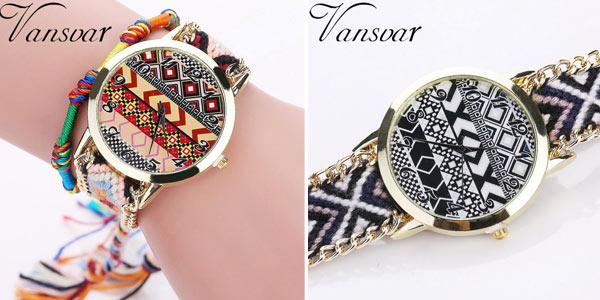 Reloj analógico de estilo tribal con correa trenzada para mujer barato en AliExpress