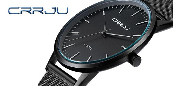 Reloj para hombre ultra-delgado de acero Crrju
