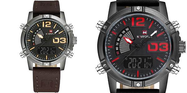 Reloj Naviforcee 9095 con correa de cuero sintético para hombre