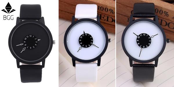 Reloj de pulsera BGG unisex de estilo minimalista
