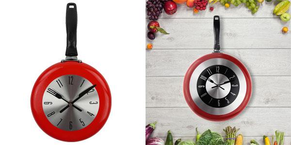 Reloj de pared para cocina con forma de sartén en varios colores