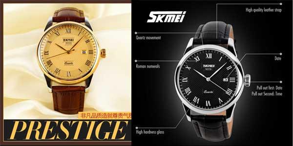 Reloj unisex Skmei correa cuero barato en AliExpress