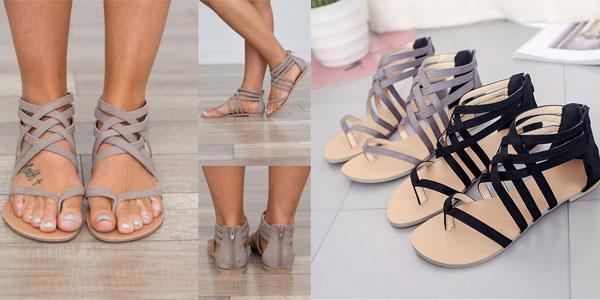 Sandalias romanas IAHEAD de tiras para mujer baratas