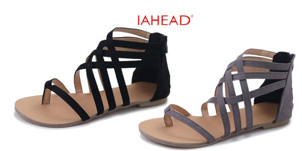 Sandalias IAHEAD de tiras en color gris o negro para mujer baratas en AliExpress