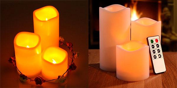 Set de 3 velas LED con control remoto barato