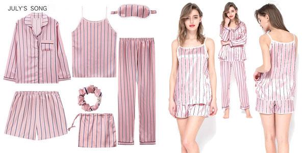 Conjunto pijama de 7 piezas para mujer barato en AliExpress