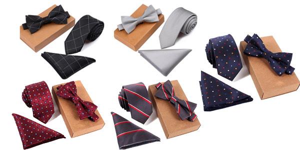 Pack de corbata, pajarita y pañuelo baratos en AliExpress