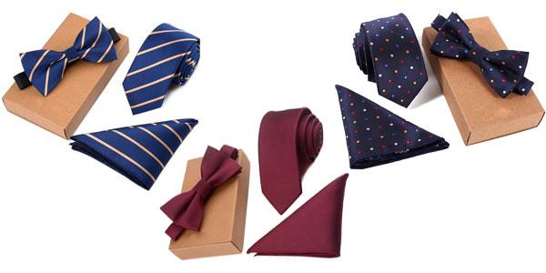 Pack de corbata, pajarita y pañuelo chollo en AliExpress