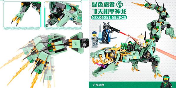 Set Dragón mecánico + 4 figuras de tipo LEGO barato