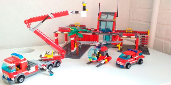 Set Estación de bomberos tipo LEGO barato