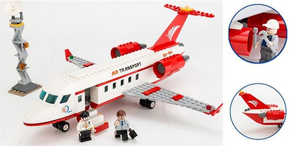 set de estilo LEGO con avión, coche y 3 figuras al mejor precio