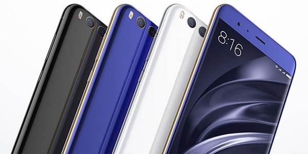 Smartphone Xiaomi Mi 6 en negro, blanco o azul