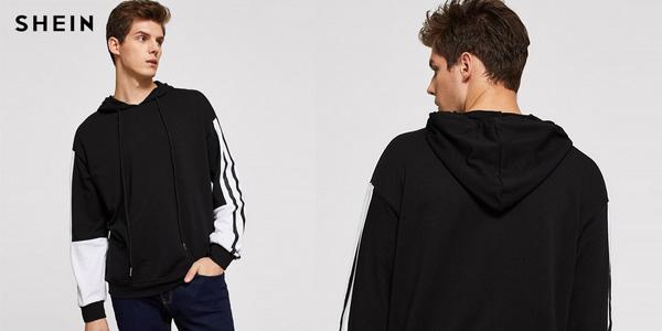 Sudadera con capucha Shein negra y blanca para hombre chollo en AliExpress