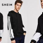 Sudadera con capucha Shein negra y blanca para hombre barata en AliExpress