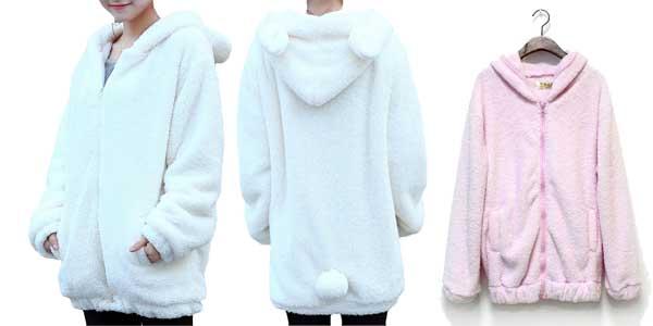 Sudadera Toonies con cremallera y capucha para mujer con diseño osito en AliExpress