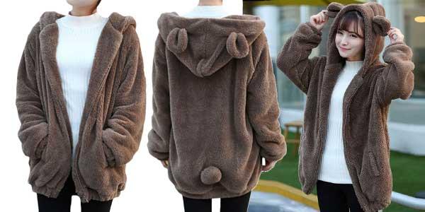 Sudadera Toonies con cremallera y capucha para mujer con diseño osito chollo en AliExpress