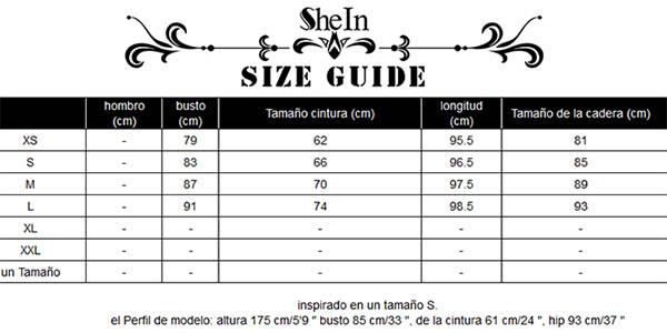 Tabla medidas y tallas vestido SheIn