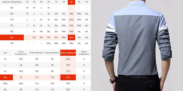 Tabla de tallas y medidas camisa para hombre Browon