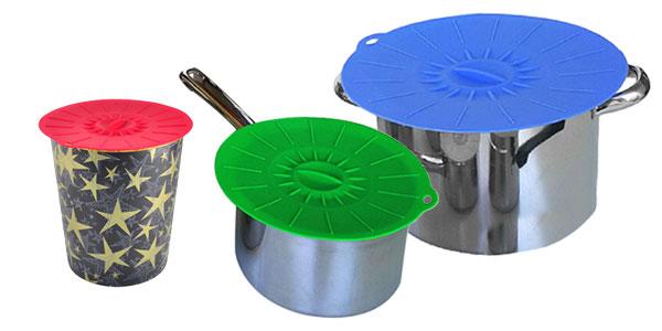 Set 5 tapas de silicona Walfo para cacerolas chollazo en AliExpress