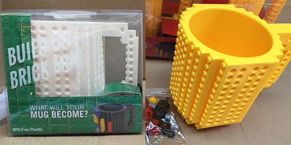 Taza personalizable tipo LEGO con descuento
