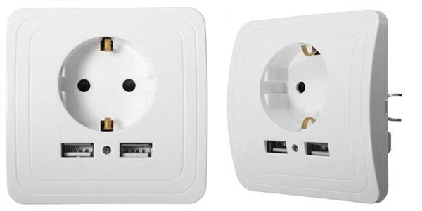 Toma de corriente Coswall con 2 puertos USB