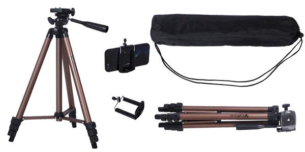 Trípode de cámara + adaptador smartphone + bolsa de transporte barato en AliExpress