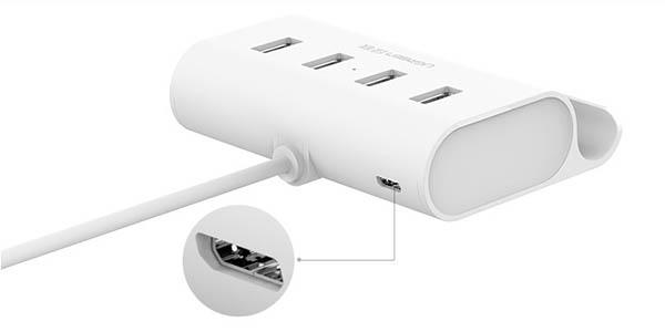 Hub Ugreen USB con alimentación microUSB