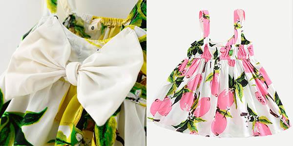 Vestido de algodón de flores con lazo para bebé barato