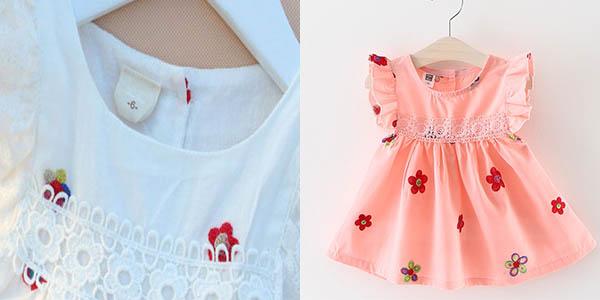 Vestido de algodón con bordado para bebé barato