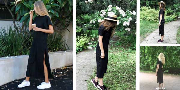 Vestido Camiseta largo Germinate abierto en el lateral en color negro para mujer barato en AliExpress