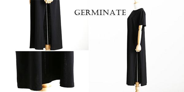 Vestido Camiseta largo Germinate abierto en el lateral en color negro para mujer chollo en AliExpress
