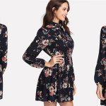 Vestido corto con estampado floral Shein de manga larga y lazada barato en AliExpress