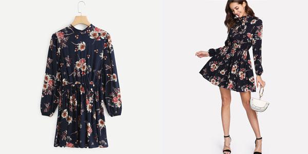 Vestido corto con estampado floral Shein de manga larga y lazada chollo en AliExpress