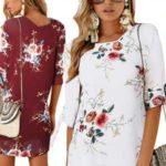 Vestido corto de gasa con manga tres cuartos barato en AliExpress