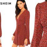 Vestido de leopardo Shein con escote en V para mujer barato en AliExpress