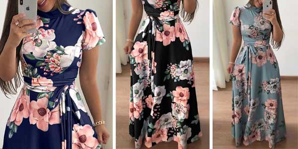Vestido de flores con cuello alto manga corta y falda larga para mujer barato en AliExpress