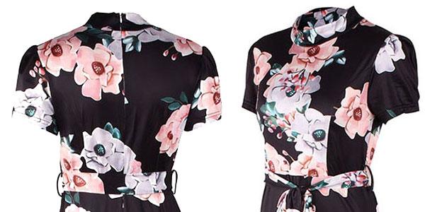 Vestido de flores con cuello alto manga corta y falda larga para mujer chollo en AliExpress